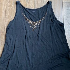 Eileen Fisher Beaded Linen Scoopneck Tank